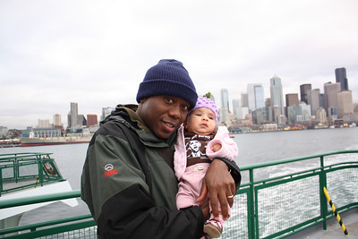 Julius and Esther on the ferry from Downtown Seattle to Bainbridge Island