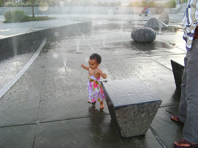 Soaking wet but having fun!