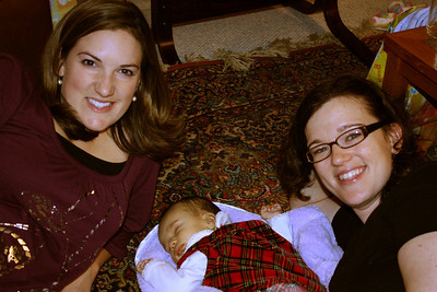 Sara and Alisa with the sleeping guest of honor