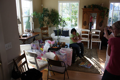 Wow! Look at all the gifts for the three babies!