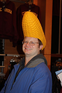 "Marko tries on the ""cornhead"""