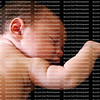 Sleeping baby with right arm raised on black background