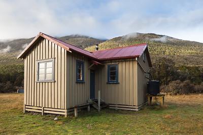 Hurunui No 3 Hut exterior, Lake Sumner Forest Park