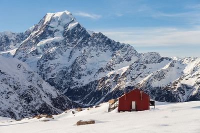Mueller Hut on Sealy Range. South Faces of Mt Hicks, Aoraki Mount Cook and Nazomi in background