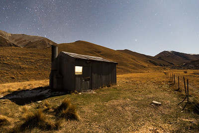 Comyns Hut in moonlight, Hakatere Conservation Park