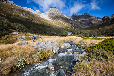 Tramper below Upper Travers Hut, Nelson Lakes National Park
