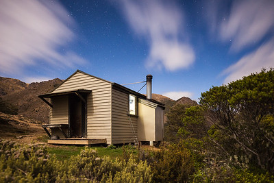 Starveall Hut in moonlight, Mount Richmond Forest Park