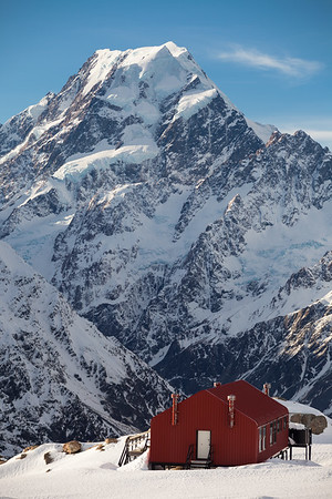 Mueller Hut on Sealy Range. South Faces of Aoraki Mount Cook and Nazomi in background