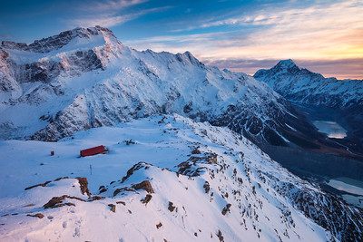 Mueller Hut beneath the East Faces of Mt Sefton (3151m) and The Footstool. Mount Cook National Park