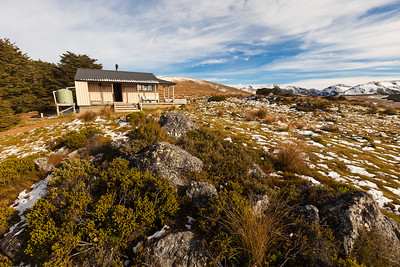 Sylvester Hut and alpine tussock and scrub country, Kahurangi National Park