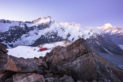 Mueller Hut, Mount Sefton and Aoraki Mount Cook, Main Divide and Sealy Range from Mount Ollivier