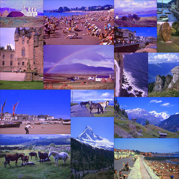 """A collage of my Grandmothers UK &amp; European Trip Sep 1966.  In late 2009 I scanned almost 400 slides from my Grandmothers trip and its been a great honour and a lot of fun bringing these to life after lying dormant in their yellow Kodak slide boxes for 44 years.  To allocate this picture to the Flickr Map I simply typed United Kingdom into the search box and that is where I placed the collage - obviously these images were taken from all around the UK (and Europe)  Bonus points to anyone who can identify the location of each photo without cheating - I know my Flickr contact Fraser P <a href=""""http://www.flickr.com/people/fraserpettigrew/"""">www.flickr.com/people/fraserpettigrew/</a> would do it without breaking a sweat!  © Phyllis Marjorie Graham Collection"""