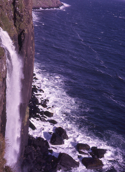 """Kilt Rock, Isle of Skye, Scotland 1966  A photograph taken by my Grandmother in 1966 during a European Tour. Unfortunately the sea on the horizon is a bit wonky, but if I crop it out I lose the waterfall as well, so I've left it. It still looks quite spectacular to me.   Google Earth Location: <a href=""""http://maps.google.com/maps?f=q&amp;source=embed&amp;hl=en&amp;geocode=&amp;q=57.6106+-6.1719&amp;sll=57.610628,-6.172674&amp;sspn=0.003753,0.011019&amp;g=57.6106+-6.1719&amp;ie=UTF8&amp;t=f&amp;ecpose=57.60375922,-6.175894,865.24,0,44.993,0&amp;ll=57.878029,-6.175894&amp;spn=0.255572,0.583649&amp;z=10"""" rel=""""nofollow"""">View Larger Map</a>  Street View of Kilt Rock Lookout:  <a href=""""http://maps.google.com/maps?f=q&amp;source=embed&amp;hl=en&amp;geocode=&amp;q=57.6106+-6.1719&amp;sll=57.610628,-6.172674&amp;sspn=0.003753,0.011019&amp;ie=UTF8&amp;t=f&amp;layer=c&amp;cbll=57.610749,-6.172708&amp;panoid=j6nogfstLRiXqrNGwOLq4A&amp;cbp=13,49.47,,0,2.25&amp;ll=57.610995,-6.175894&amp;spn=0,0.048237&amp;z=14"""" rel=""""nofollow"""">View Larger Map</a>  © Phyllis Marjorie Graham Collection"""