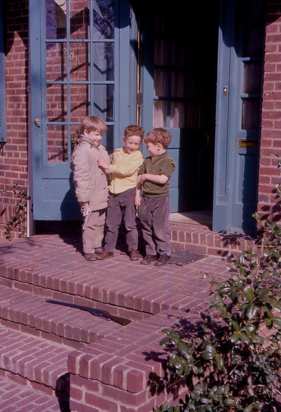 Three Boys on steps USA from my Grandmothers Slide Collection<br /> <br /> I have no idea who these boys might be, but I think this is the USA as they were grouped with a very few USA slides in amongst 350 slides my Grandmother took, mainly of the UK and some of Europe in 1966. Judging by these boys ages, I would guess they would be around my age group, i.e. lates 40's.