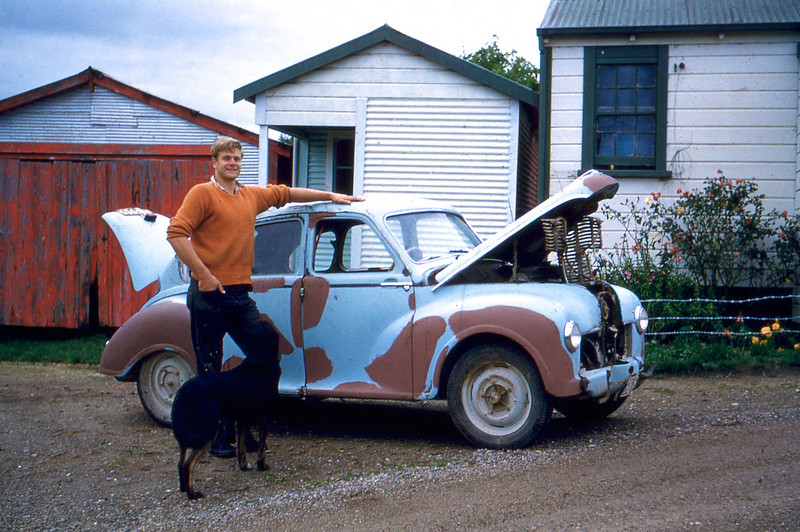 Dad and Car outside Farm Sheds Gisborne NZ 1950s<br /> <br /> I think the middle shed was known as the &quot;Do Drop In&quot; which I assume my father's friends would meet to socialise and drink beer? I remember the Do Drop In and the red shed, but not the one to the right.