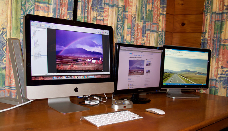 Working on my Grandmothers Slides May 2010<br /> From far left, processing and retouching via Aperture, in the middle, uploading and captioning etc in Flickr, and far right, using Google Street View to map location.<br /> <br /> Is this photo a little OTT..... yes probably!
