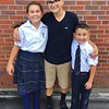 Belen and Santiago Galvez entering grades 7 and 3 at Saint Agnes Academy in Dalton, with older brother Diego, Grade 9, helping out his mom Amy as he waits for opening day at Mount Greylock. PHOTO PROVIDED BY LISA STANKIEWICZ