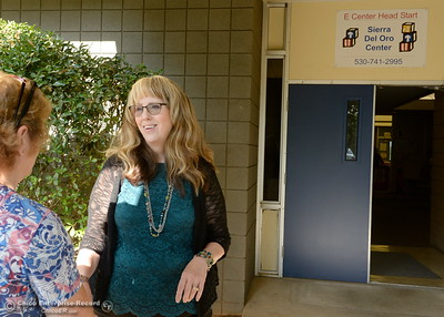 Director of Special Education/Principal of Sierra Del Oro School Kimberly Tyler right, talks with Kelly Horn, Center Director for Head Start on the first day of school at at Sierra Del Oro School in Oroville, Calif. Wed. Aug. 16, 2017.  (Bill Husa -- Enterprise-Record)