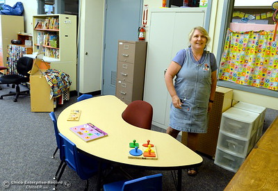 Teacher Ronda Barton smiles as she gets her room ready for students at Sierra Del Oro School in Oroville, Calif. Wed. Aug. 16, 2017.  (Bill Husa -- Enterprise-Record)
