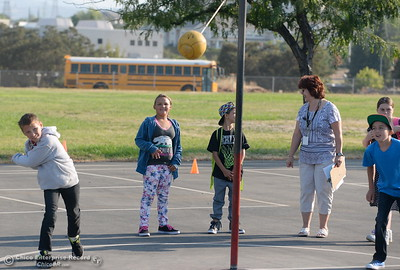 New friends are made on the playground as parents and students arrive for the first day of school at Wyandotte Academy in Oroville, Calif. Wed. Aug. 16, 2017.  (Bill Husa -- Enterprise-Record)