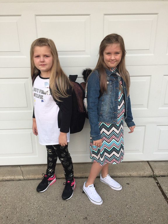 . Maddie (left) and Kherington Begarowicz starting 2nd and 3rd Grade at Black Elementary in Sterling Heights. Submitted by Jamie Begarowicz.