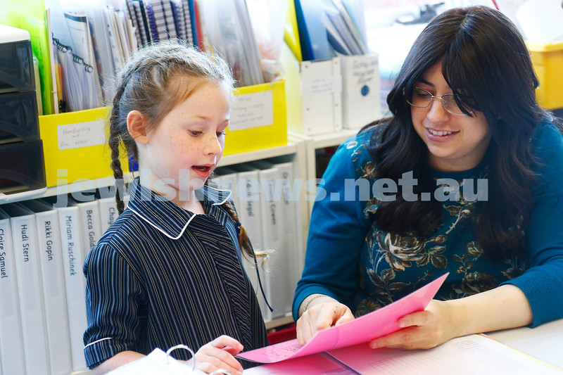 Beth Rivkah ladies College. xxxxxx going through the alphabet with her teacher. Photo: Peter Haskin