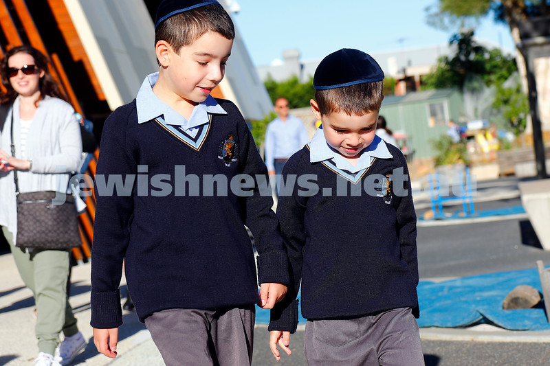 Mount Scopus College. xxxx (left), looks after little brother xxxxx on his first day. Photo: Peter Haskin