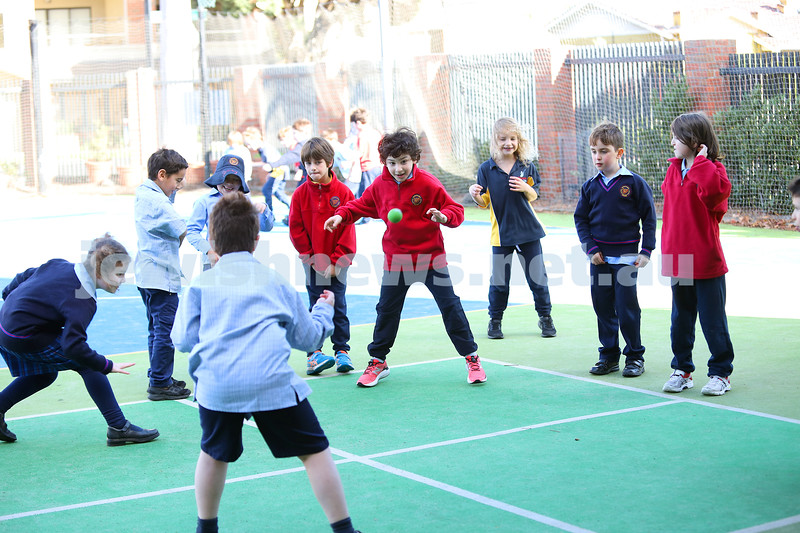 A lunchtime game of four square at Sholem Aleichem College. Photo: Peter Haskin