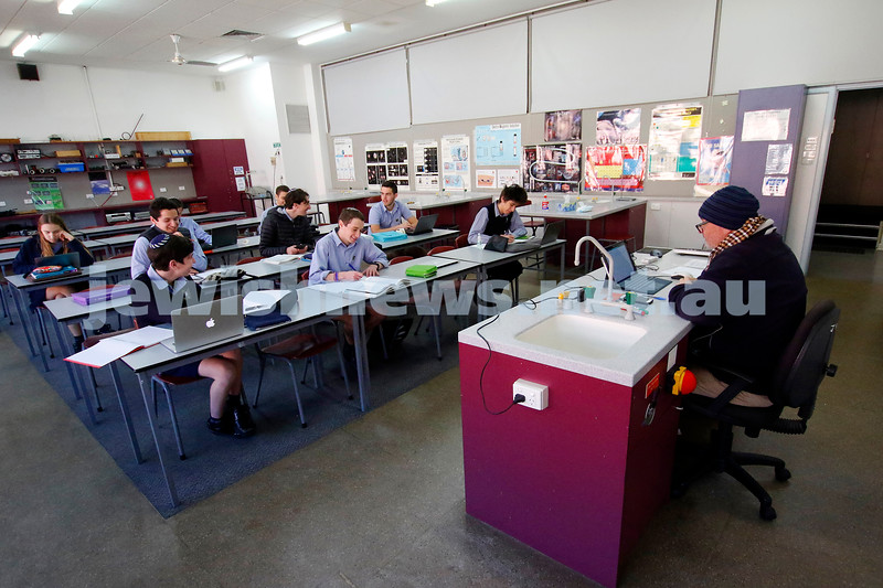 Keeping their distance during science class. Leibler Yavneh College. Photo: Peter Haskin
