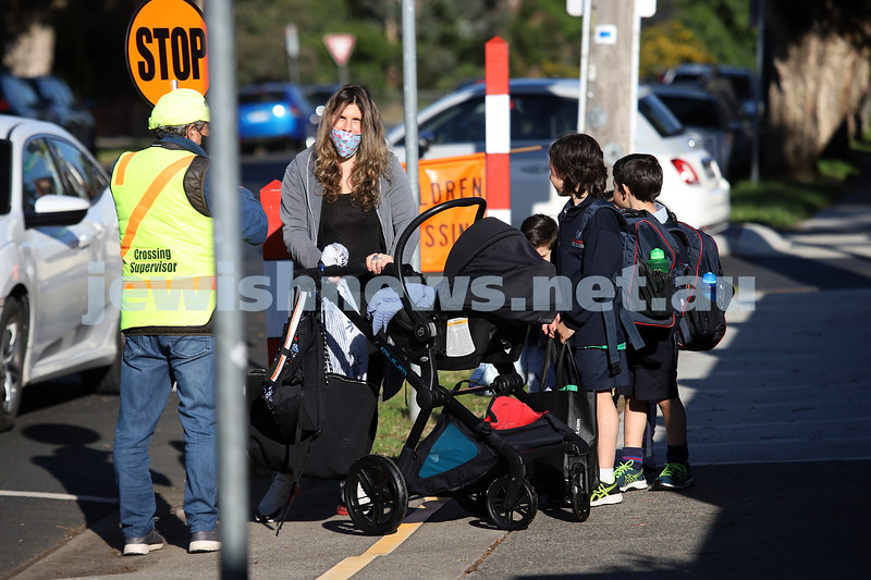 12-10-20. Mum of 5, Chloe Sztejman. After months of home schooling, students finally return to real face to face classes at Sholem Aleichem College . Photo: Peter Haskin