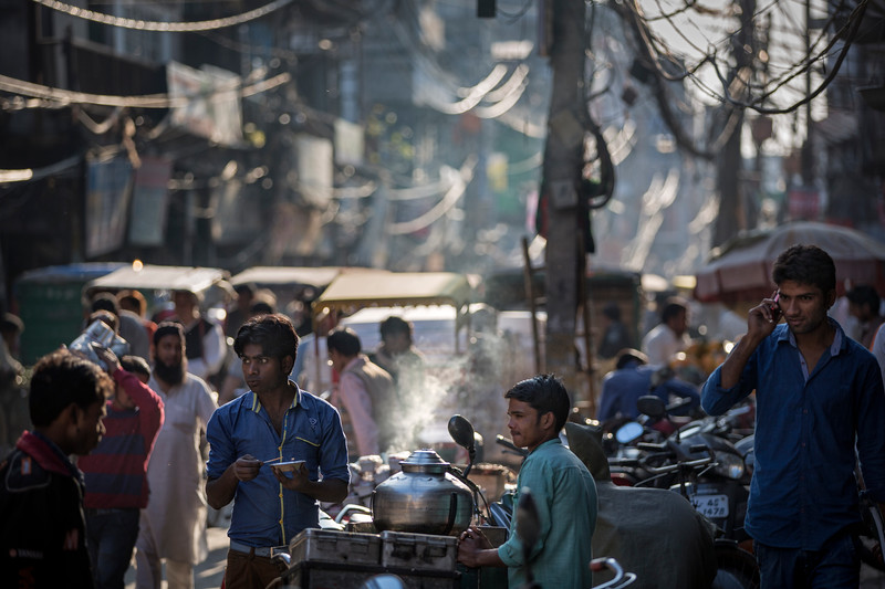 Busy streets of Delhi in the afternoon