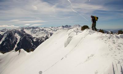 Skier Mckinney looks over