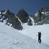 Andy Ross.  L to R Ski Dreams, East Couloir, West Couloir.  Below Matterhorn Peak