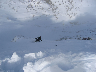 Skiing down the top snowfield