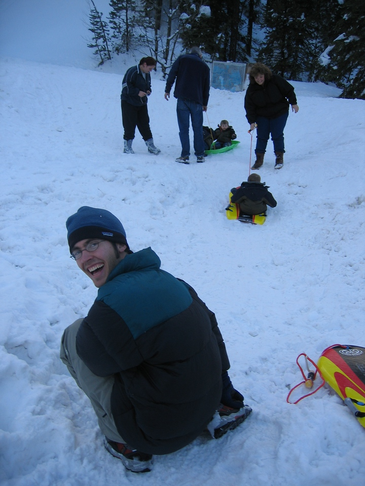 But we were soon joined by some extreme sledders.  Loo got a kick out of them.