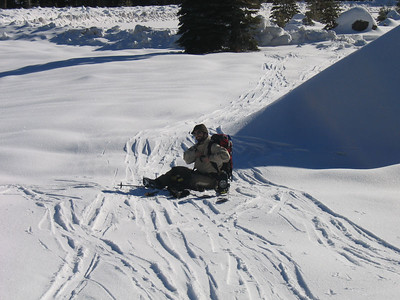 Tim's first day on a splitboard.  We'll just say that he had some trouble.