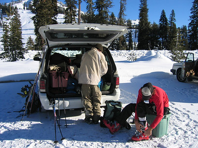 1st day skiing this season.  Lassen with Nick and Durbo.  Unloading the car...while trying to hide poncho from the ranger.