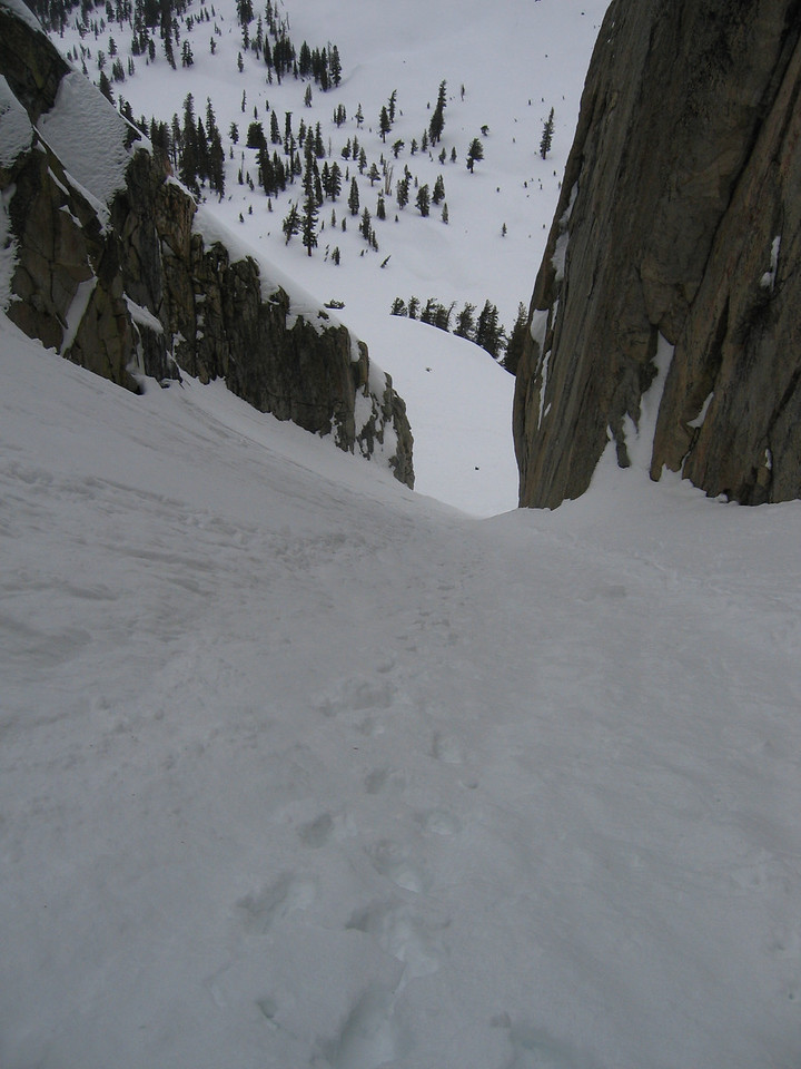 Steep, consistent, no dog leg, and stable snow.<br /> <br /> Decided to keep on heading up.