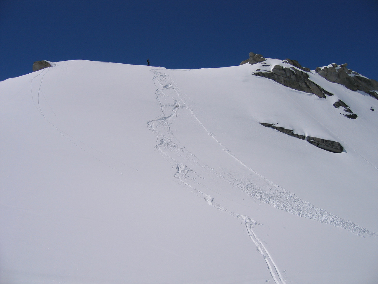"We skied down Little Matterhorn to ""test"" the snow.  Yup, it was a little unstable."