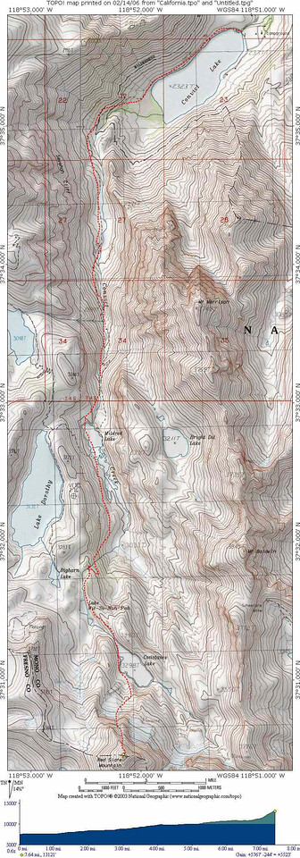 Here is the topo with our route and elevation.