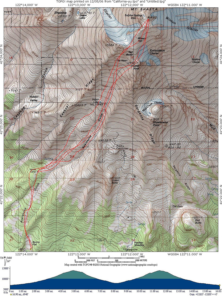 Here is the topo for the day.  This was my first 10,000+ ft day.  Considering that, going 13000+ covering nearly 16 miles wasn't bad...