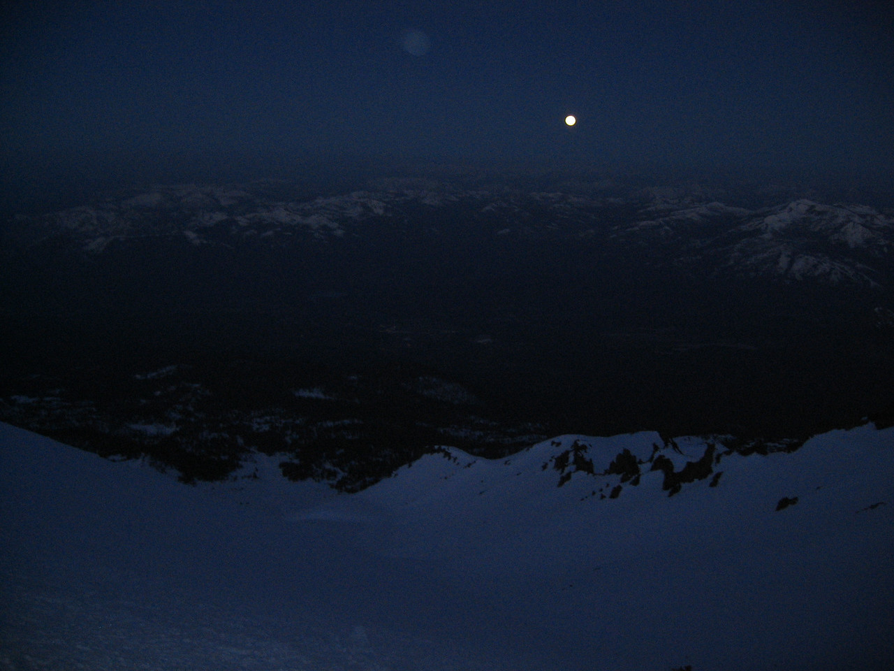 Moon setting in the trinity alps...you could see Mt. Thompson, Mt. Gibson, and the rest of the alps clearly.
