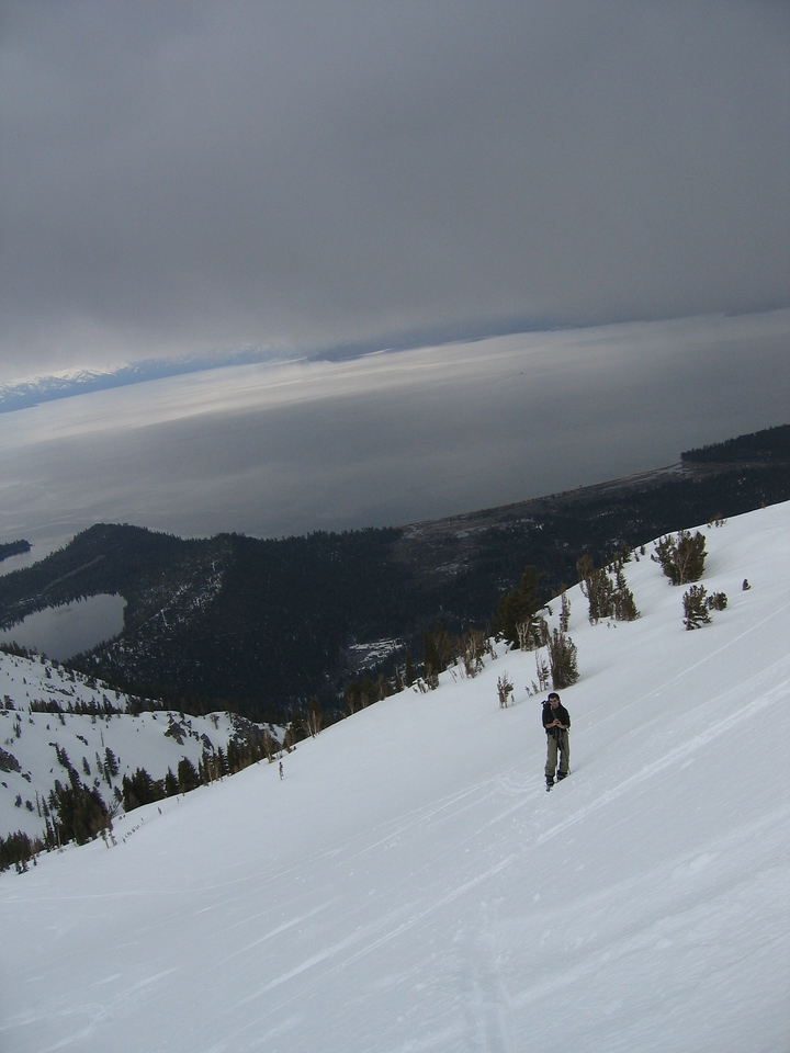 "Here we are skinning back up from ""the central"" and you can see the weather just rolling in."