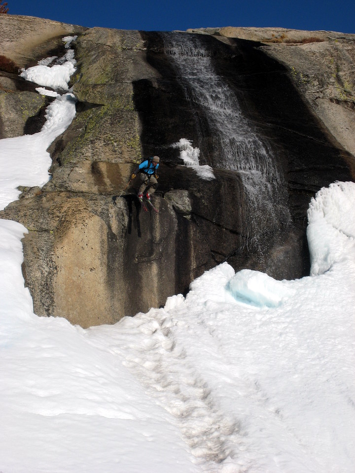 On our way down, we decided to ski down some waterfalls, and hop over some creeks.  Perfect corn.