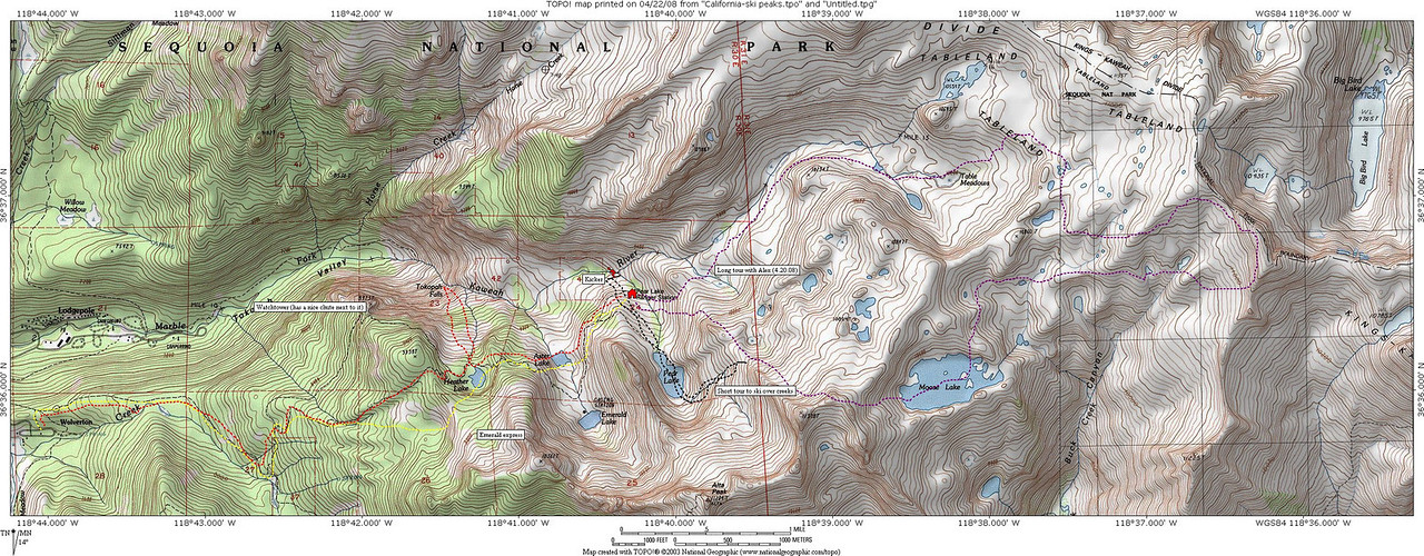 Here's the topo with our routes.<br /> <br /> Sat: 5 miles to the hut... then got preoccupied with the kicker<br /> Sun: 10 mile tour with Alex, 3 mile tour with crew, and went back to the kicker<br /> Mon: 5 miles back, with an excursion down to Tokopah Falls