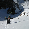 At the very top of the couloir, as we pulled onto the hanging snowfield