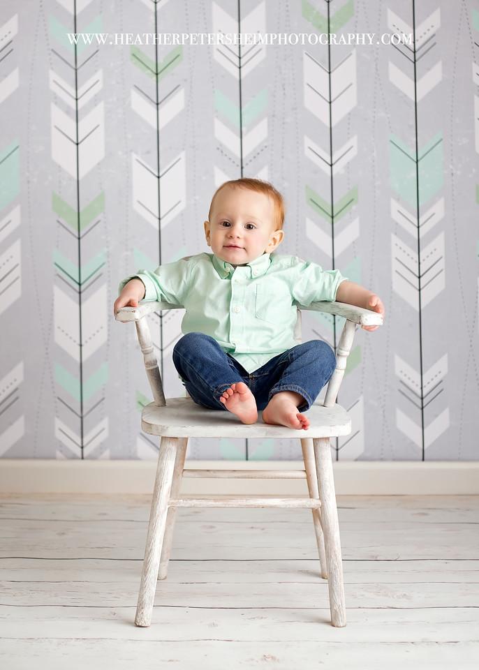 Greyson Mint Arrows Drop & Gray Wood Floor