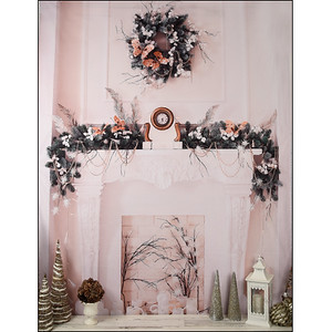 Tall Wreath Fireplace