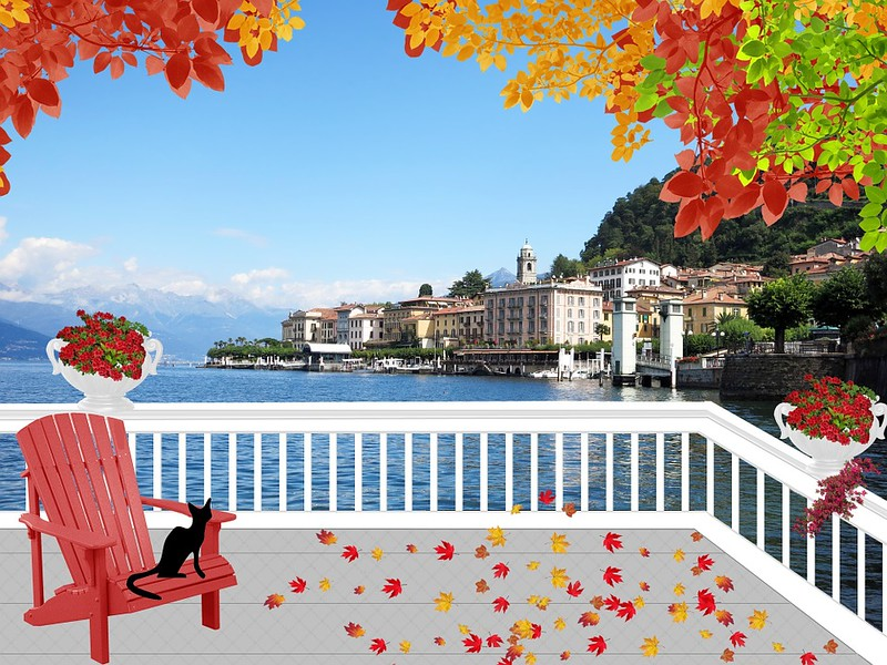 Leaves Landscape Fall Lake Como Lake Patio Italy