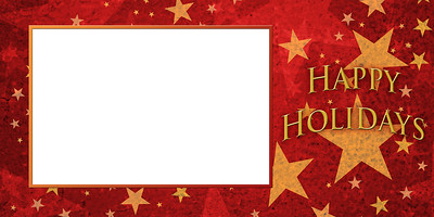 Gold Stars on Red Post Card Size